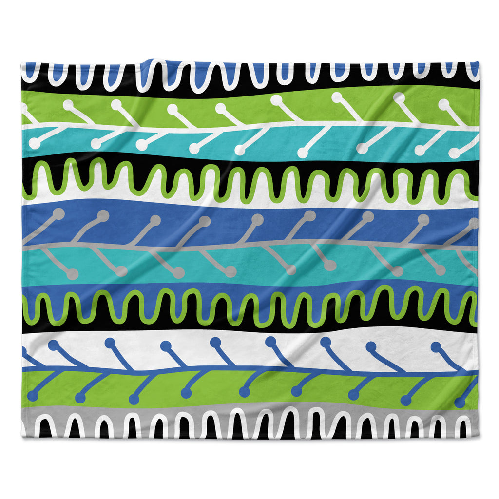"Jacqueline Milton ""Salsa - Blue"" Aqua Green Fleece Throw Blanket"