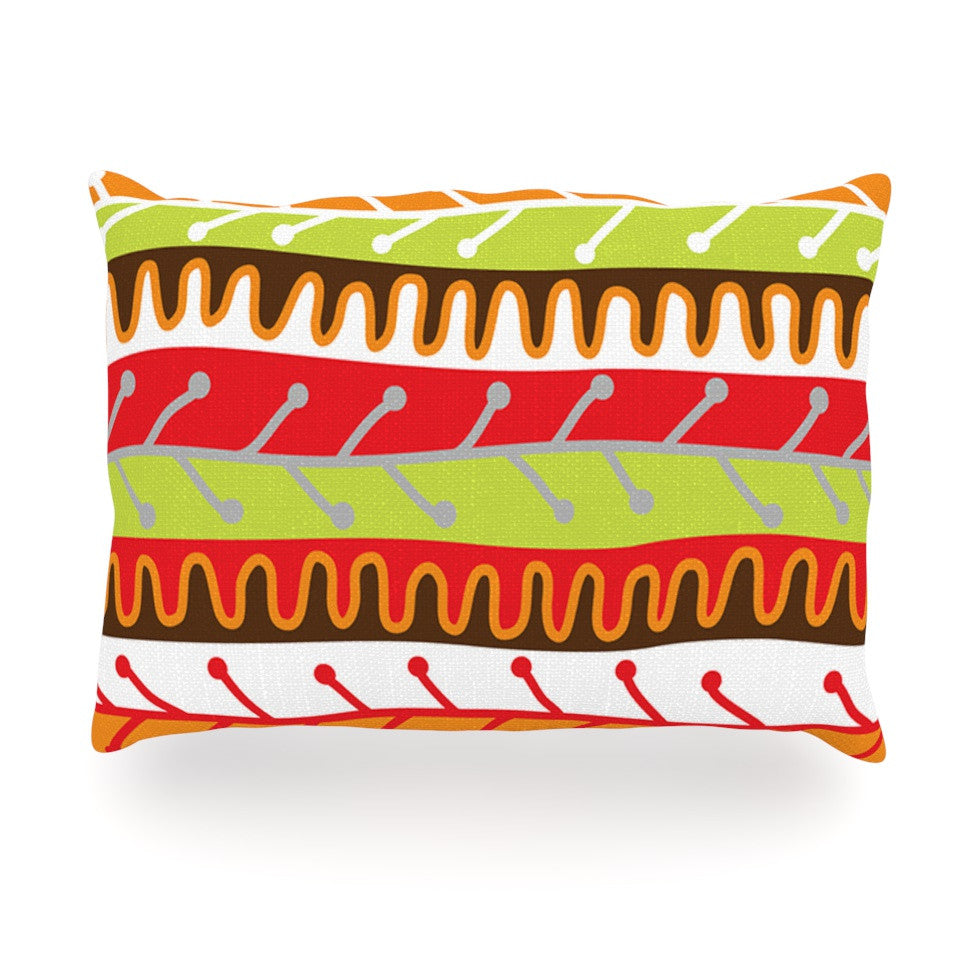 "Jacqueline Milton ""Salsa - Orange"" Yellow Red Oblong Pillow - KESS InHouse"