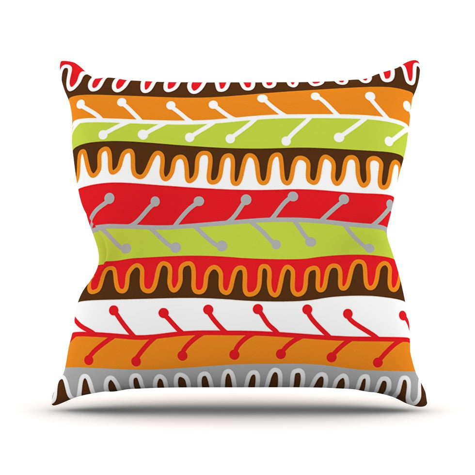 "Jacqueline Milton ""Salsa - Orange"" Yellow Red Throw Pillow - KESS InHouse  - 1"