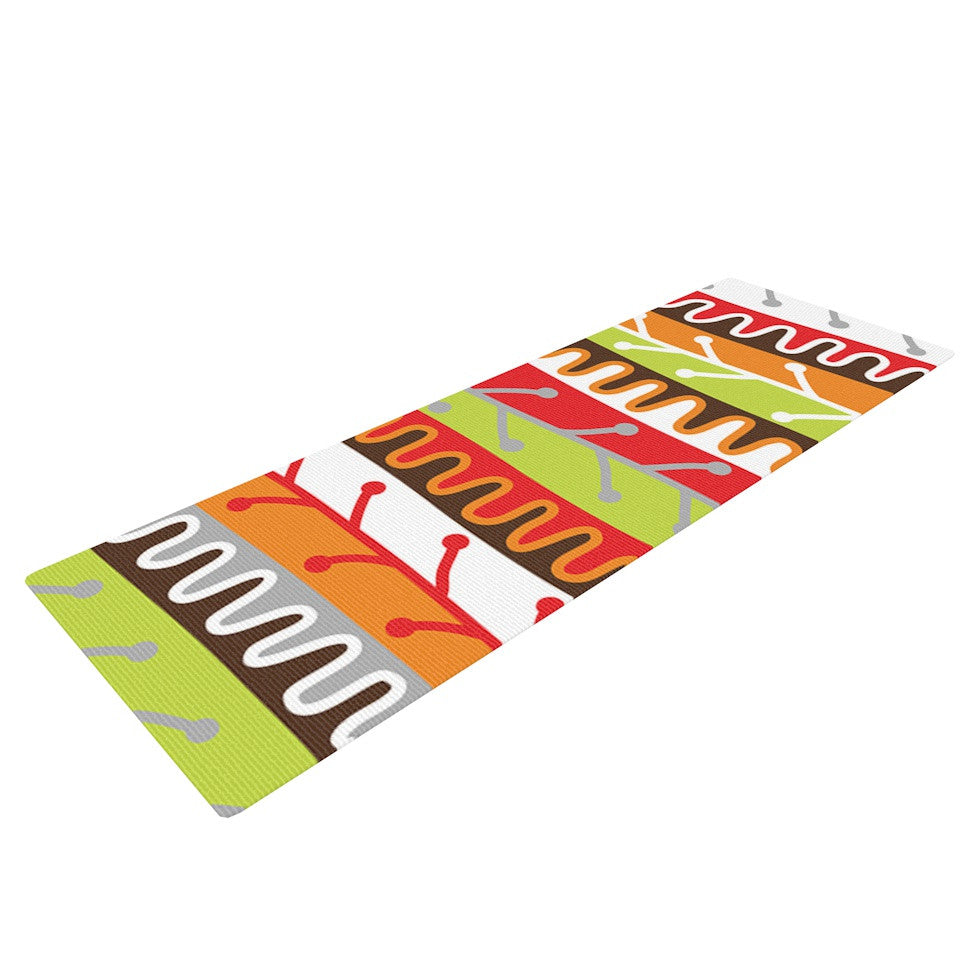 "Jacqueline Milton ""Salsa - Orange"" Yellow Red Yoga Mat - KESS InHouse  - 1"
