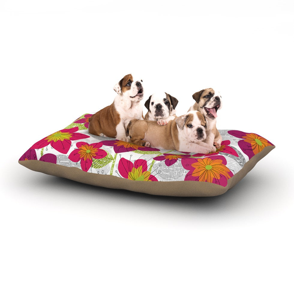 "Jacqueline Milton ""Star Flower"" Black White Dog Bed - KESS InHouse  - 1"