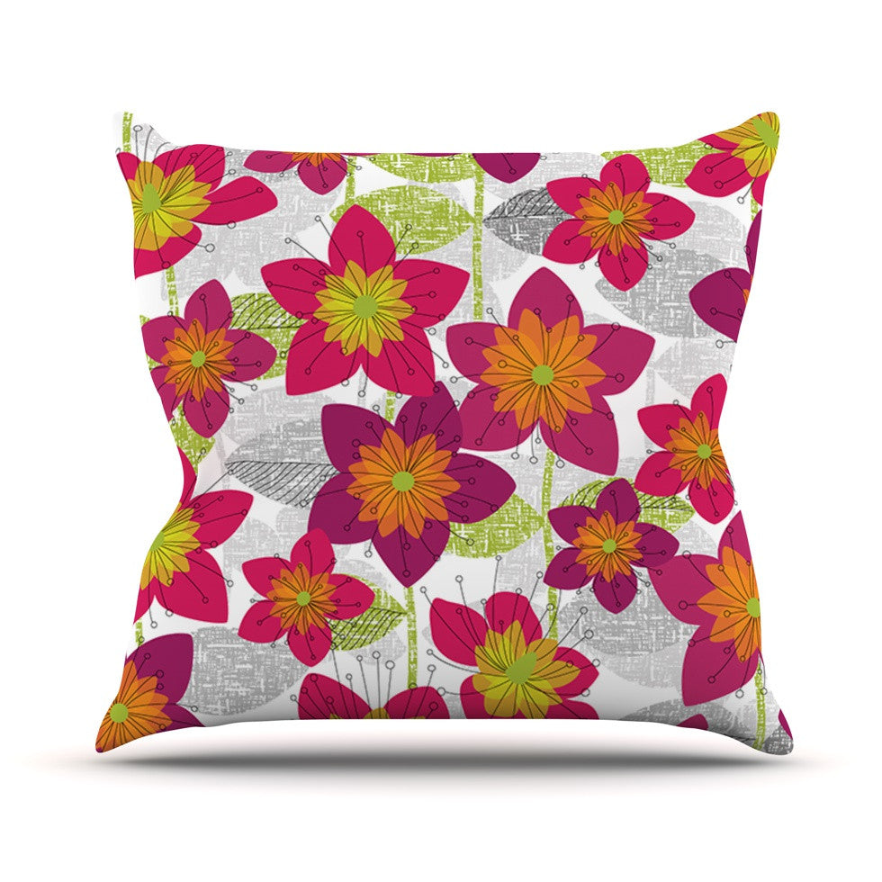 "Jacqueline Milton ""Star Flower"" Floral Pink Throw Pillow - KESS InHouse  - 1"