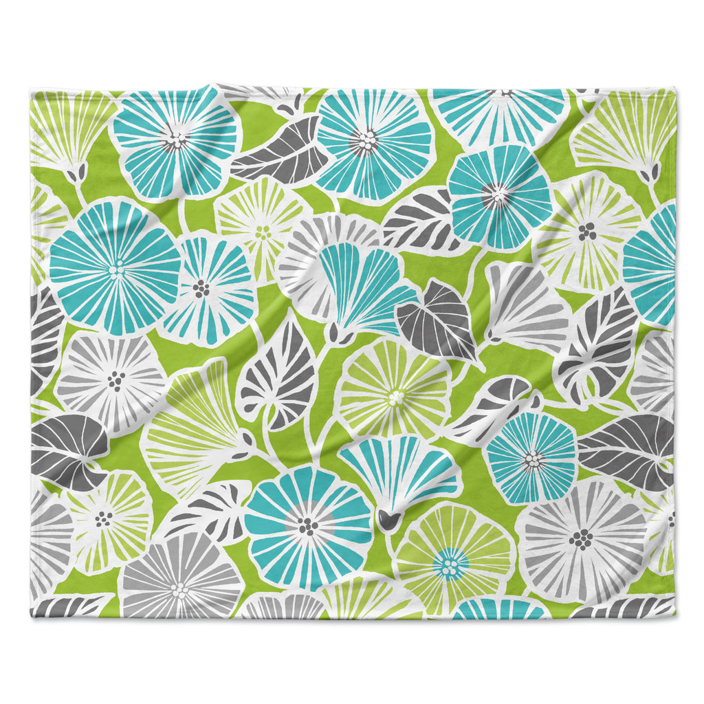 "Jacqueline Milton ""Trumpet Vine"" Aqua Green Fleece Throw Blanket"