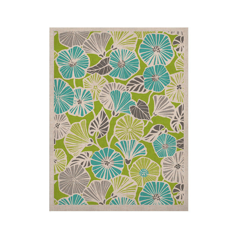 "Jacqueline Milton ""Trumpet Vine"" Aqua Green KESS Naturals Canvas (Frame not Included) - KESS InHouse  - 1"