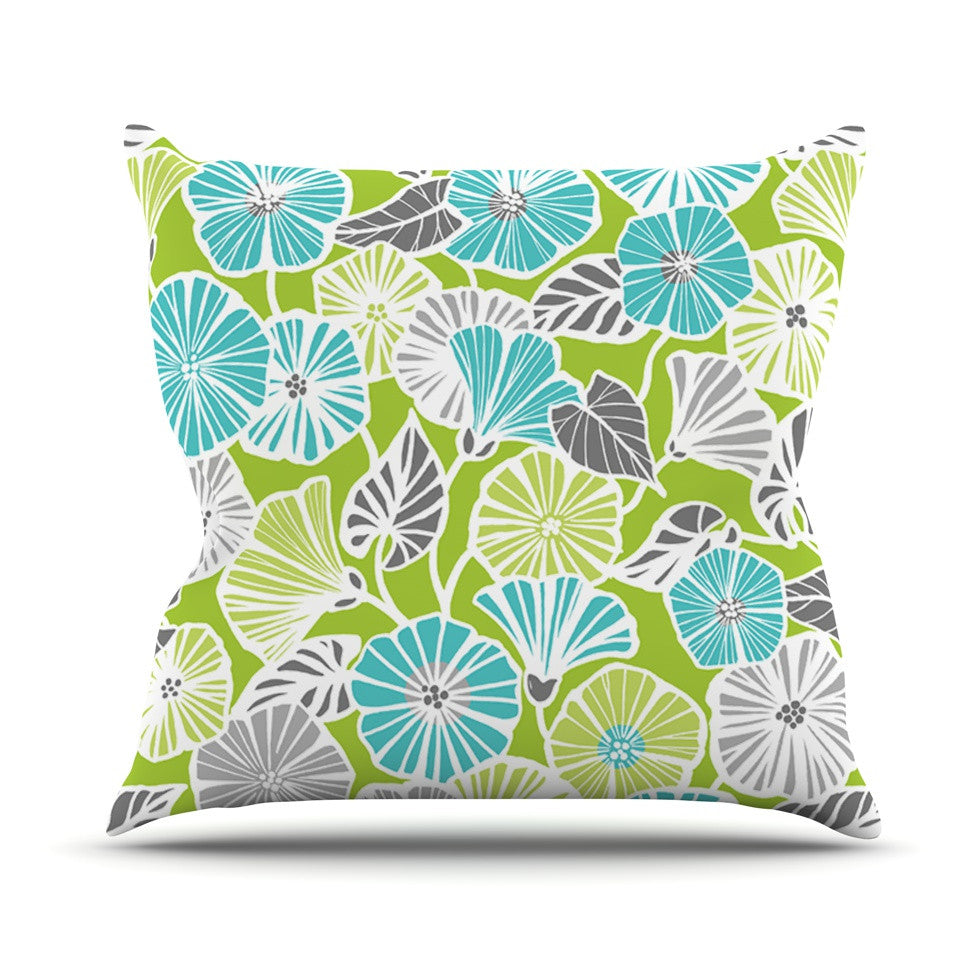 "Jacqueline Milton ""Trumpet Vine"" Aqua Green Outdoor Throw Pillow - KESS InHouse  - 1"