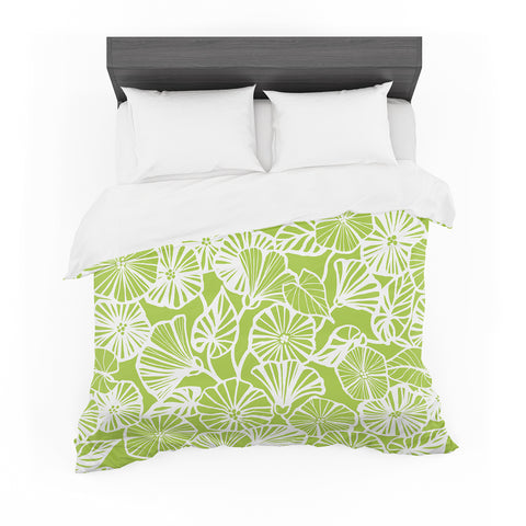 "Jacqueline Milton ""Vine Shadow Lime"" Green Floral Featherweight Duvet Cover - Outlet Item"