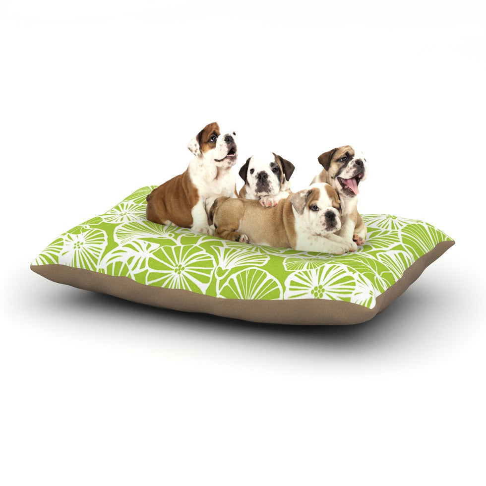 "Jacqueline Milton ""Vine Shadow - Lime"" Green Floral Dog Bed - KESS InHouse  - 1"