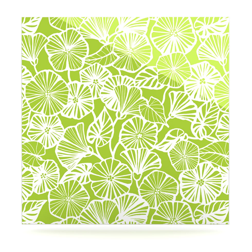 "Jacqueline Milton ""Vine Shadow - Lime"" Green Floral Luxe Square Panel - KESS InHouse  - 1"