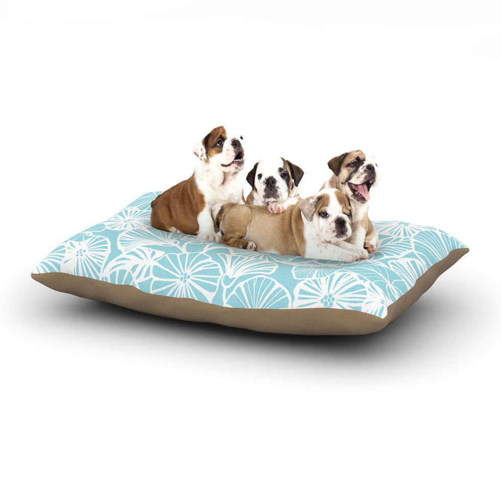 "Jacqueline Milton ""Vine Shadow - Aqua"" Blue Floral Dog Bed - KESS InHouse  - 1"