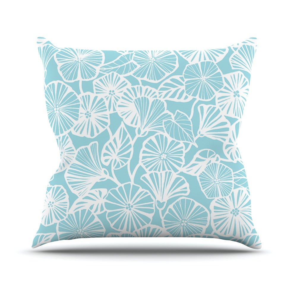 "Jacqueline Milton ""Vine Shadow - Aqua"" Blue Floral Outdoor Throw Pillow - KESS InHouse  - 1"