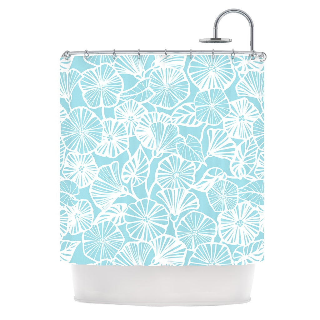 "Jacqueline Milton ""Vine Shadow - Aqua"" Blue Floral Shower Curtain - KESS InHouse"