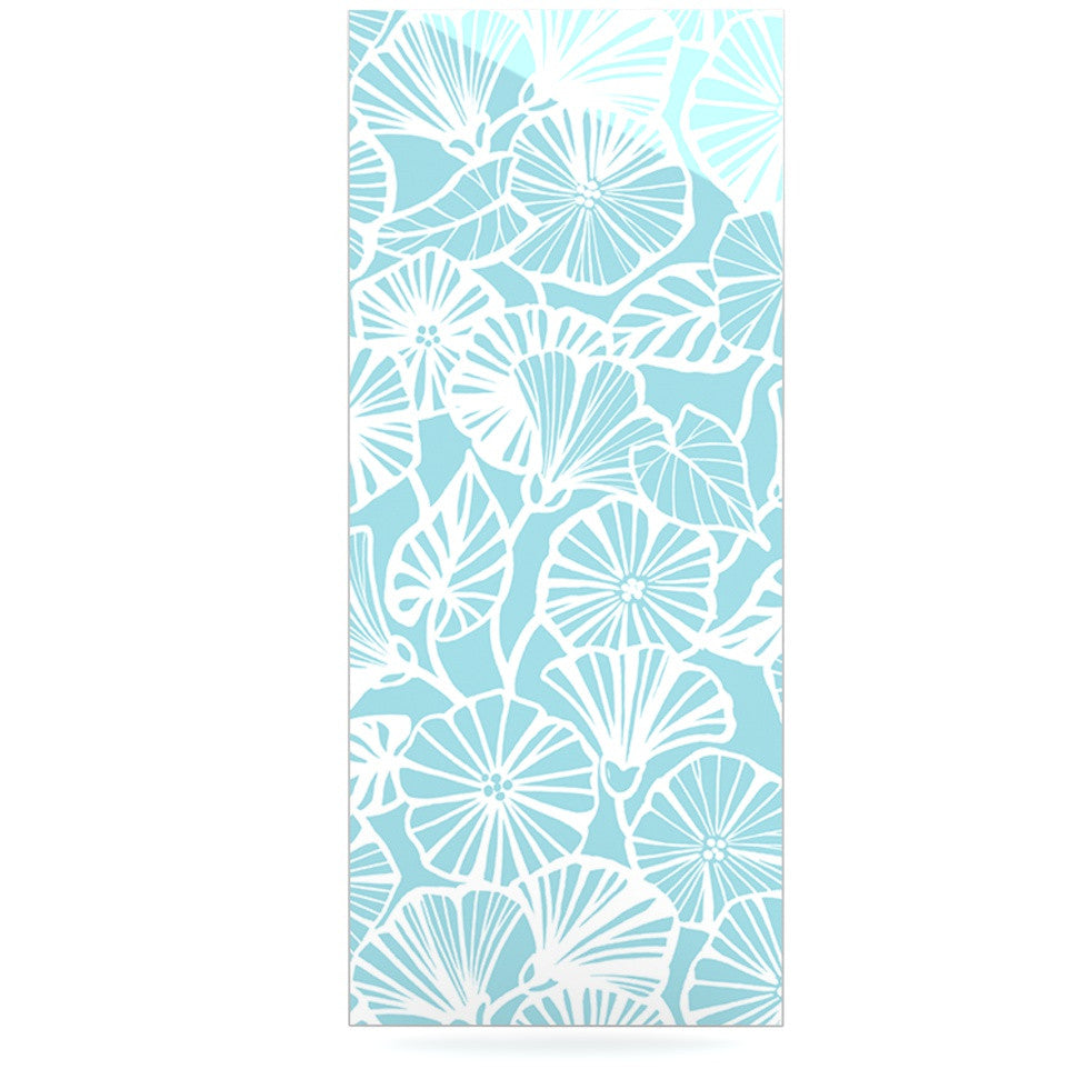 "Jacqueline Milton ""Vine Shadow - Aqua"" Blue Floral Luxe Rectangle Panel - KESS InHouse  - 1"