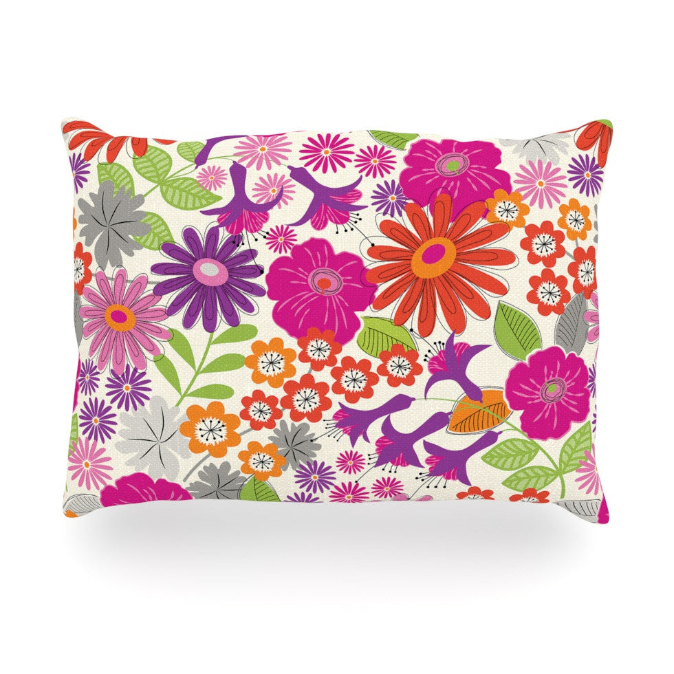 "Jacqueline Milton ""Lula - Tropical"" Pink White Oblong Pillow - KESS InHouse"