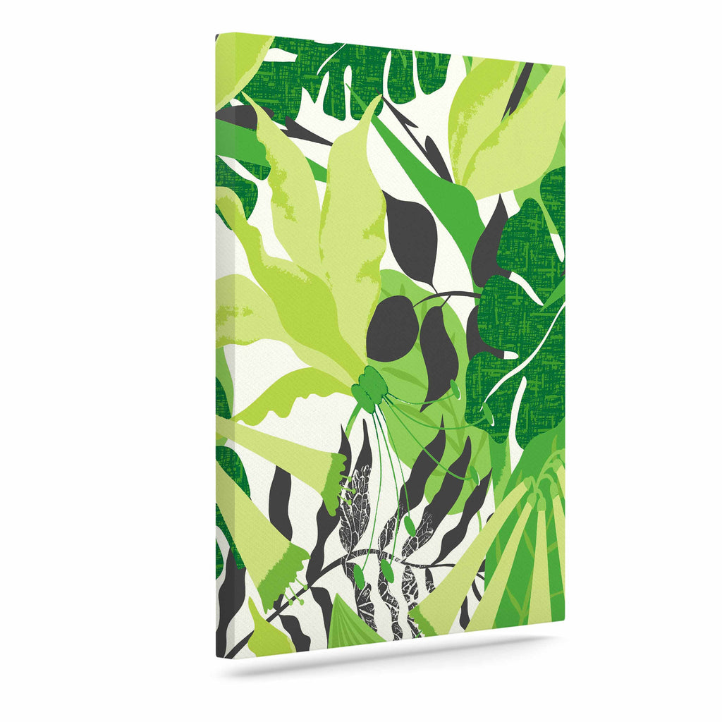 "Jacqueline Milton ""Tropicana - Green"" Lime White Canvas Art - KESS InHouse  - 1"