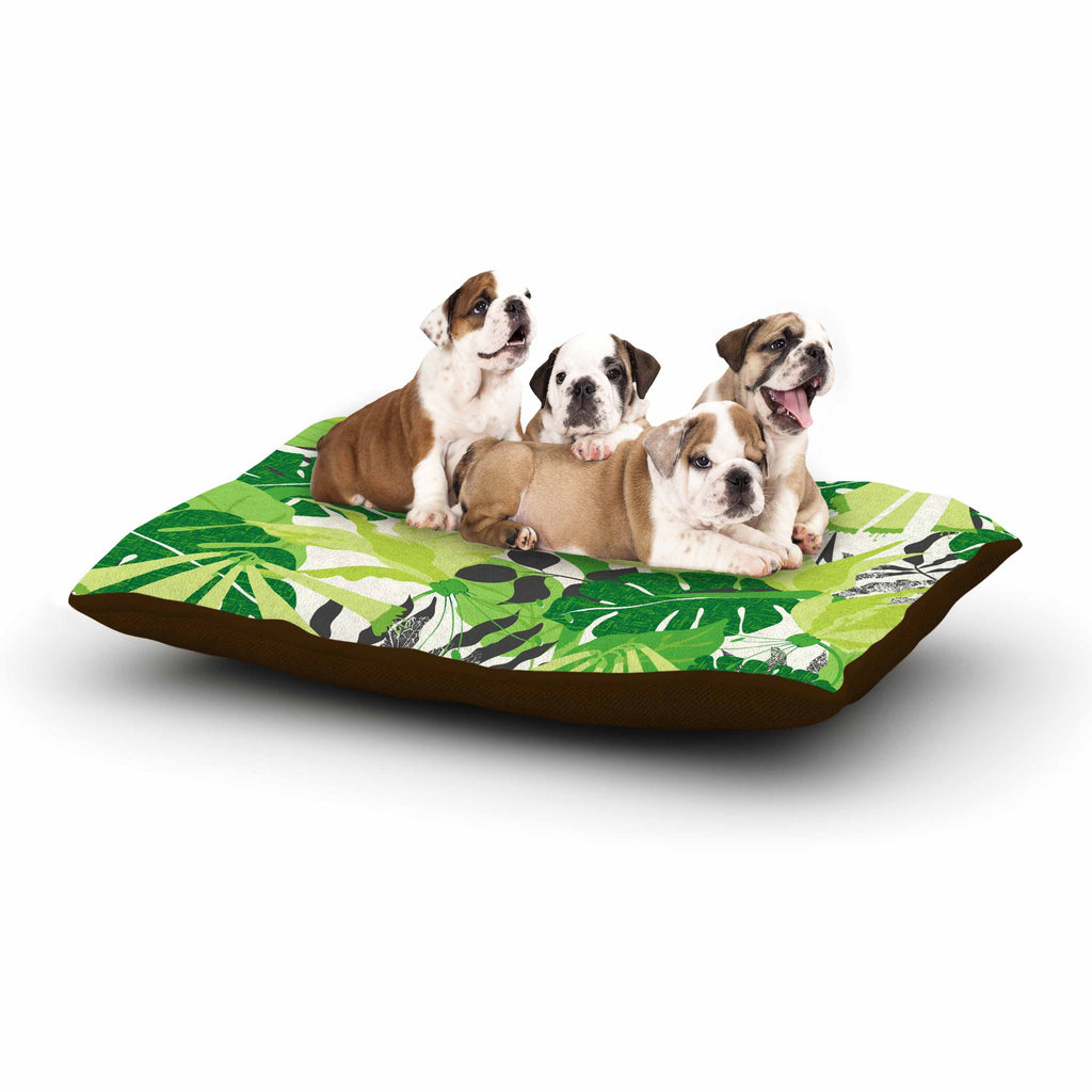 "Jacqueline Milton ""Tropicana - Green"" Lime White Dog Bed - KESS InHouse  - 1"