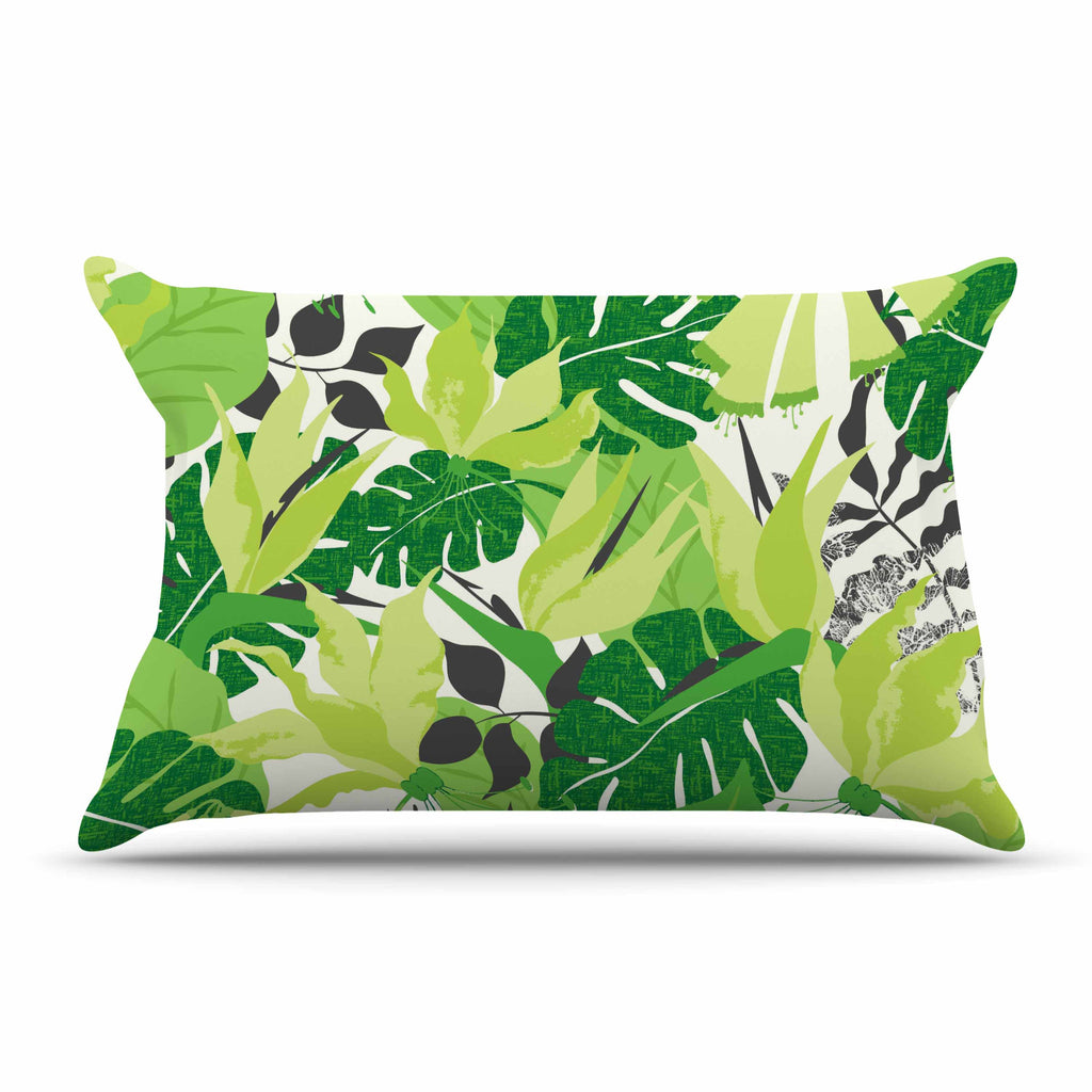 "Jacqueline Milton ""Tropicana - Green"" Lime White Pillow Sham - KESS InHouse"
