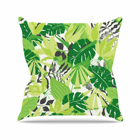 "Jacqueline Milton ""Tropicana - Green"" Lime White Throw Pillow - Outlet Item - KESS InHouse"