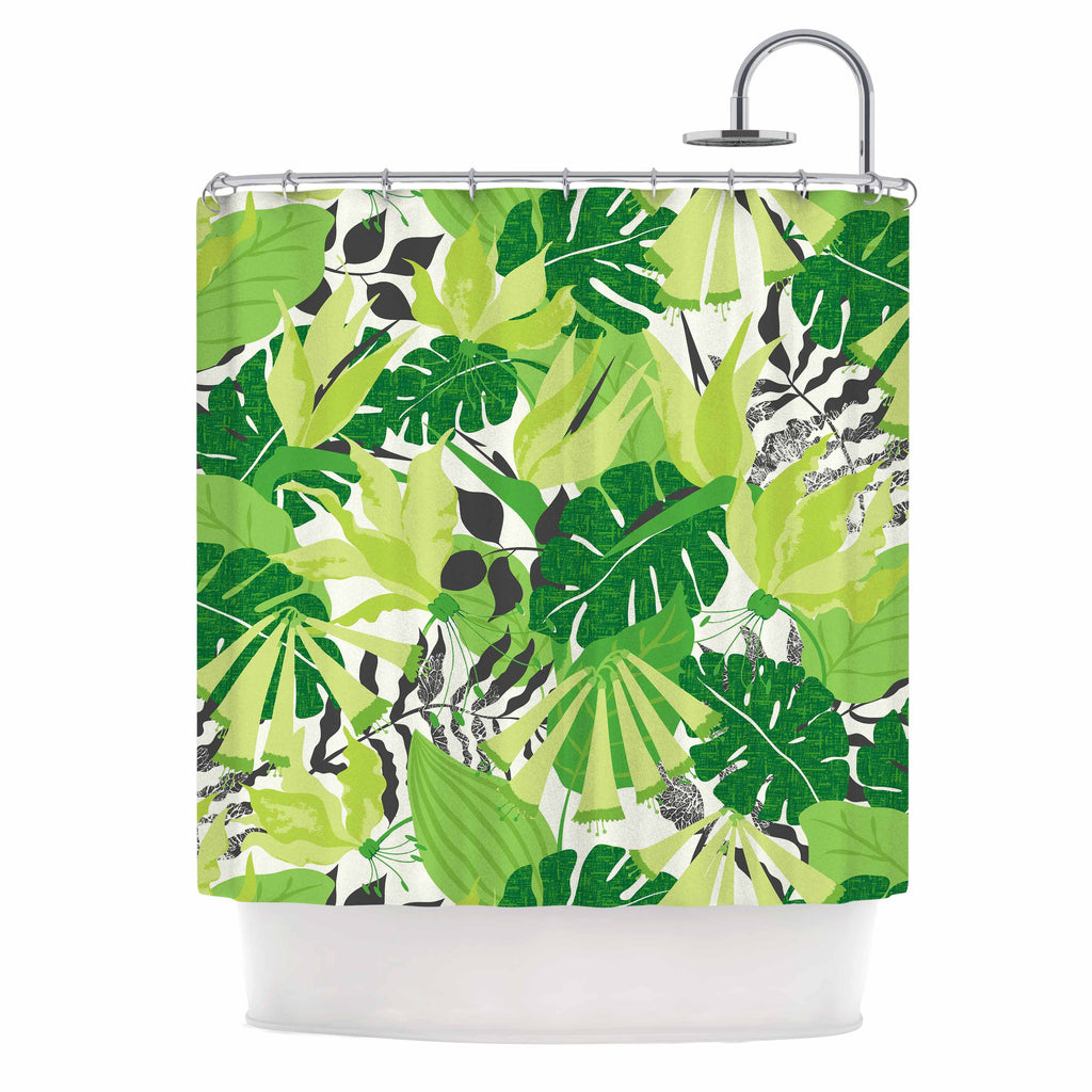 "Jacqueline Milton ""Tropicana - Green"" Lime White Shower Curtain - KESS InHouse"