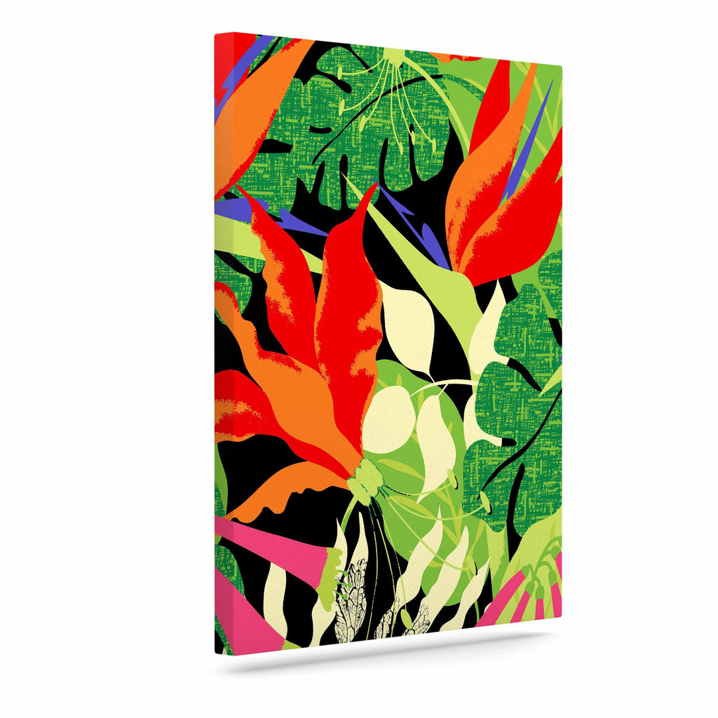"Jacqueline Milton ""Tropicana - Hot"" Orange Green Canvas Art - KESS InHouse  - 1"