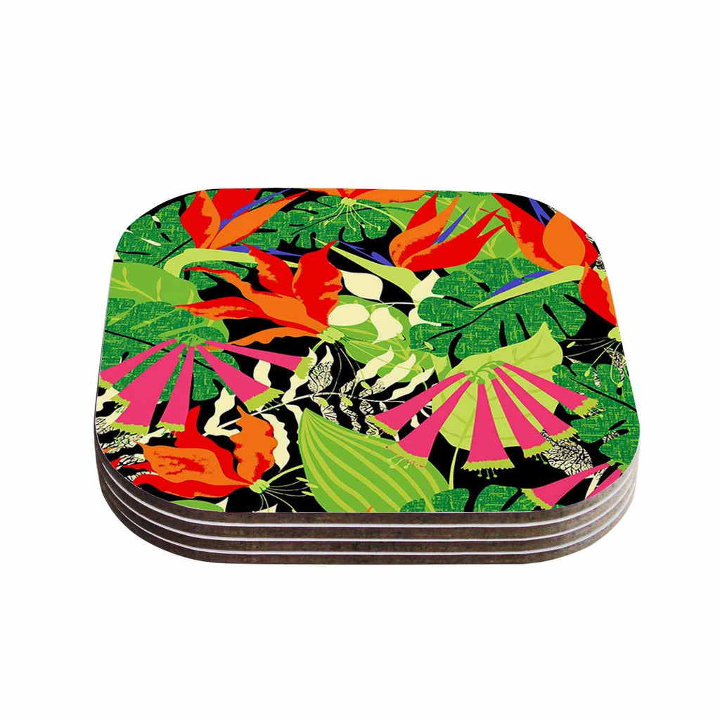 "Jacqueline Milton ""Tropicana - Hot"" Orange Green Coasters (Set of 4)"