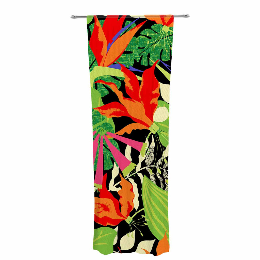 "Jacqueline Milton ""Tropicana - Hot"" Orange Green Decorative Sheer Curtain - KESS InHouse  - 1"