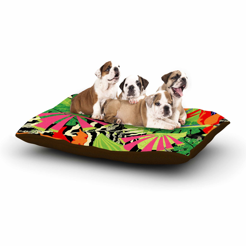 "Jacqueline Milton ""Tropicana - Hot"" Orange Green Dog Bed - KESS InHouse  - 1"