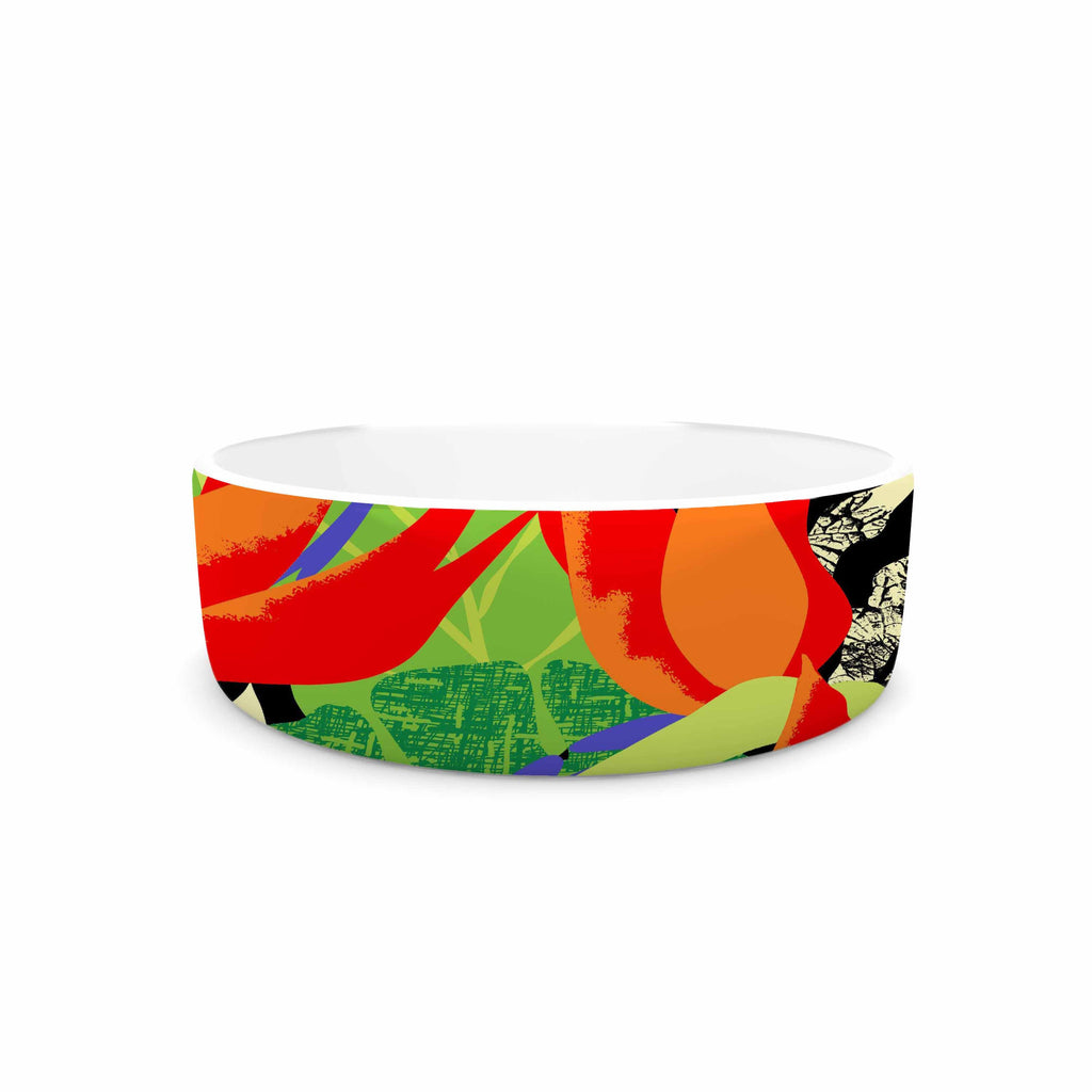 "Jacqueline Milton ""Tropicana - Hot"" Orange Green Pet Bowl - KESS InHouse"