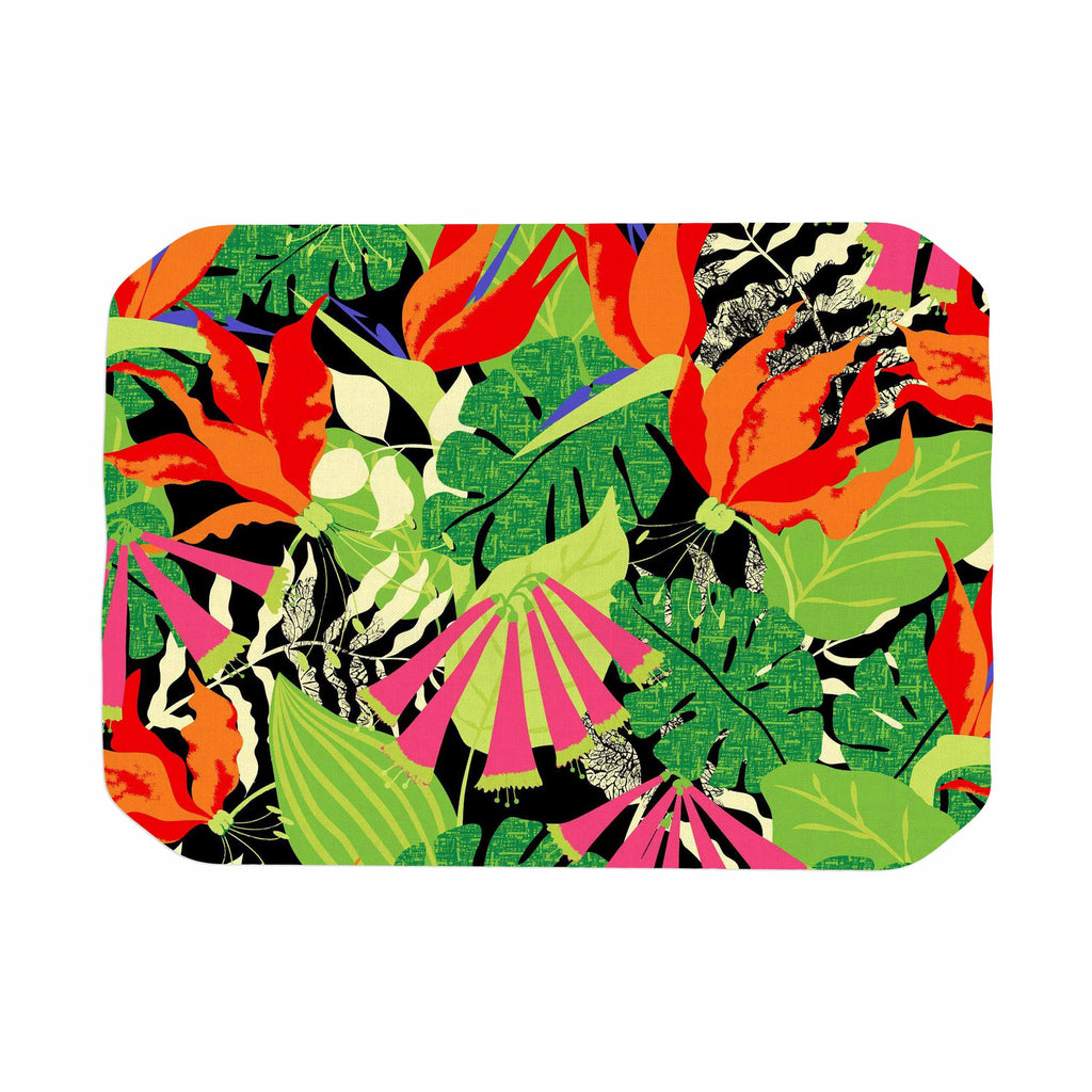 "Jacqueline Milton ""Tropicana - Hot"" Orange Green Place Mat - KESS InHouse"