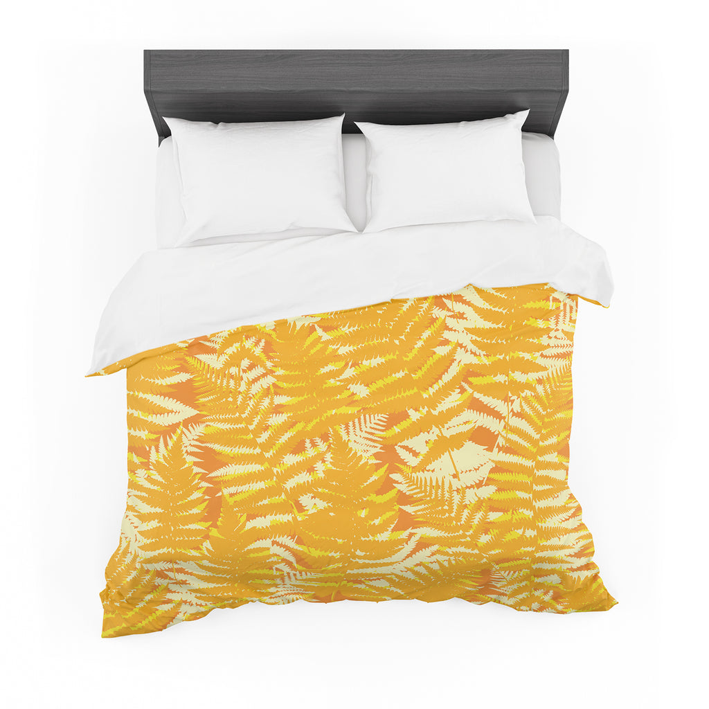"Jacqueline Milton ""Fun Fern - Citrus"" Orange Gold Featherweight Duvet Cover"