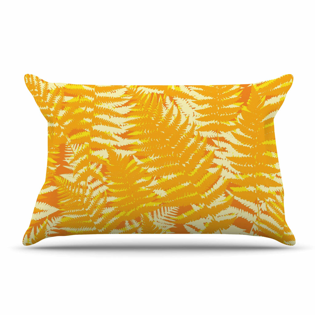 "Jacqueline Milton ""Fun Fern - Citrus"" Orange Gold Pillow Sham - KESS InHouse"