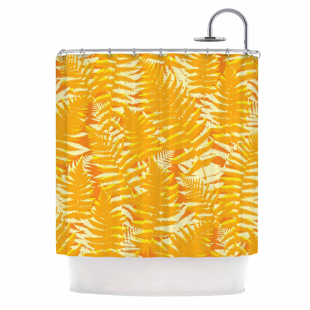 "Jacqueline Milton ""Fun Fern - Citrus"" Orange Gold Shower Curtain - KESS InHouse"