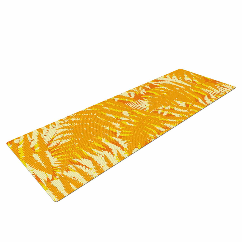 "Jacqueline Milton ""Fun Fern - Citrus"" Orange Gold Yoga Mat - KESS InHouse  - 1"