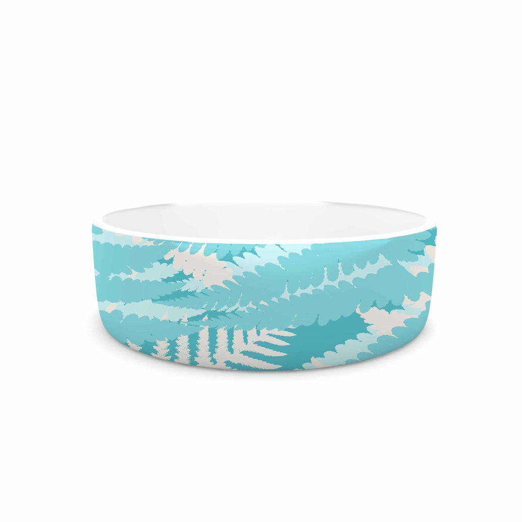 "Jacqueline Milton ""Fun Fern - Sky"" Blue Aqua Pet Bowl - KESS InHouse"