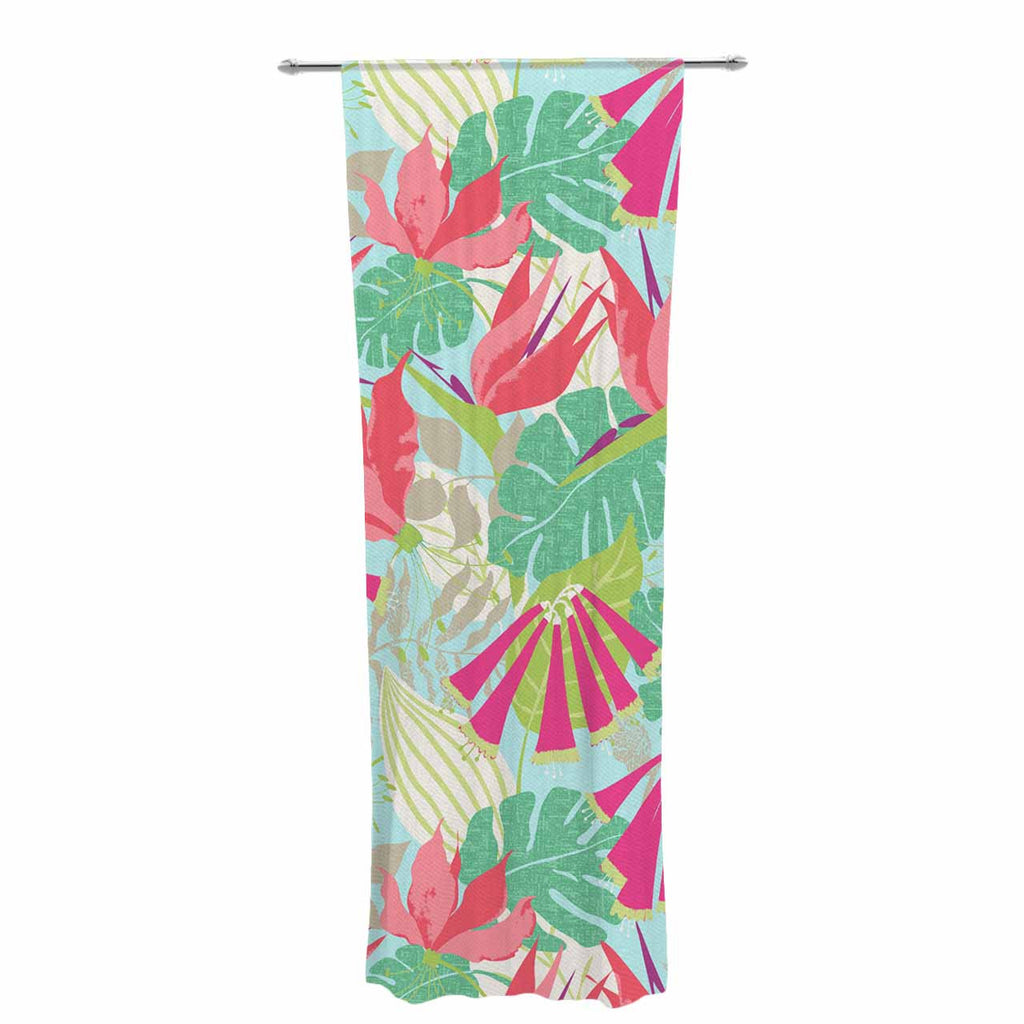 "Jacqueline Milton ""Tropicana - Sky"" Pink Green Decorative Sheer Curtain - KESS InHouse  - 1"