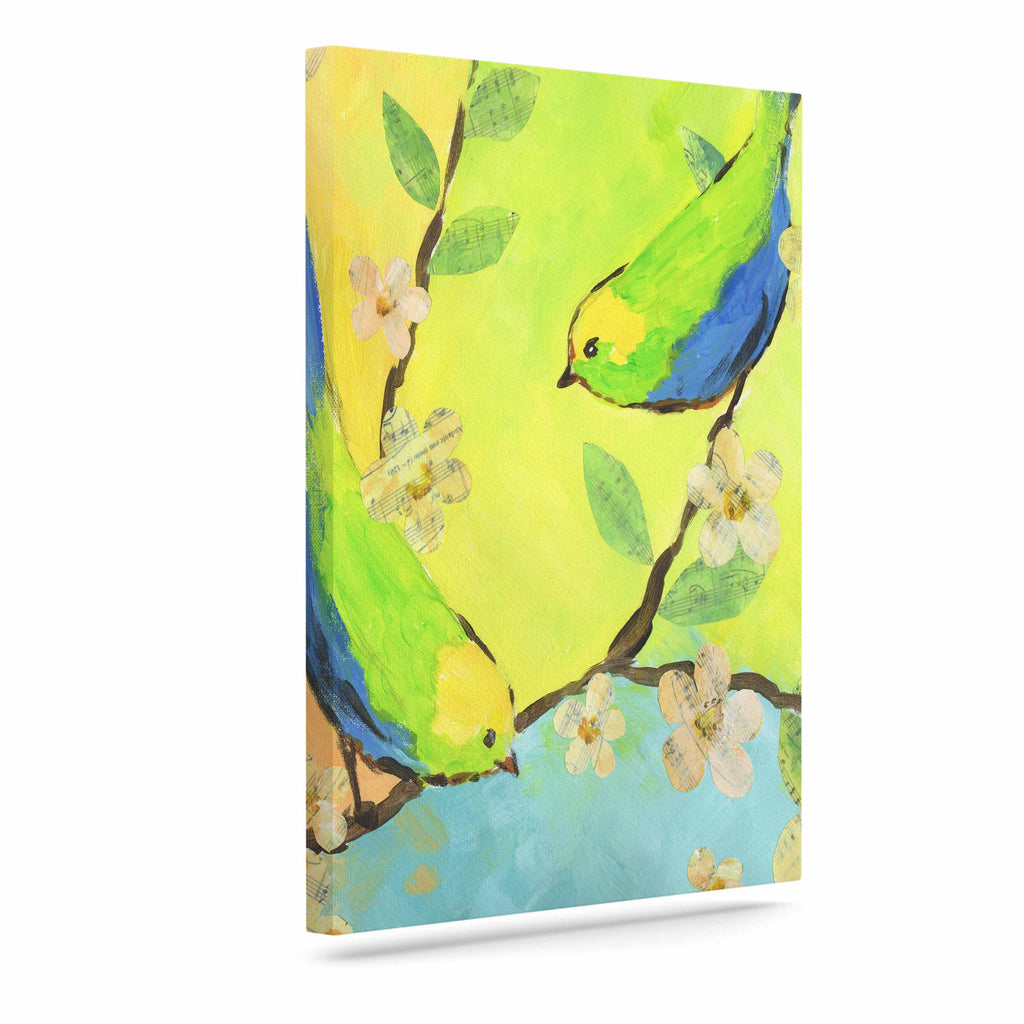 "Jacqueline Milton ""Song Birds"" Blue Green Canvas Art - KESS InHouse  - 1"