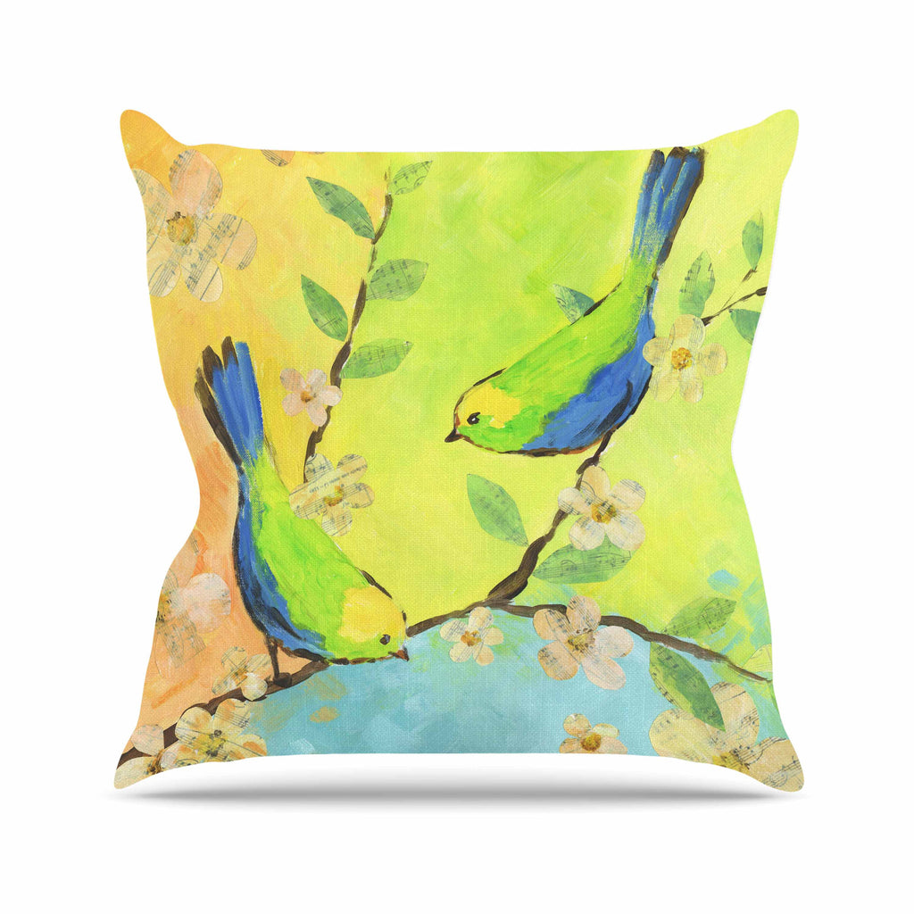 "Jacqueline Milton ""Song Birds"" Blue Green Outdoor Throw Pillow - KESS InHouse  - 1"