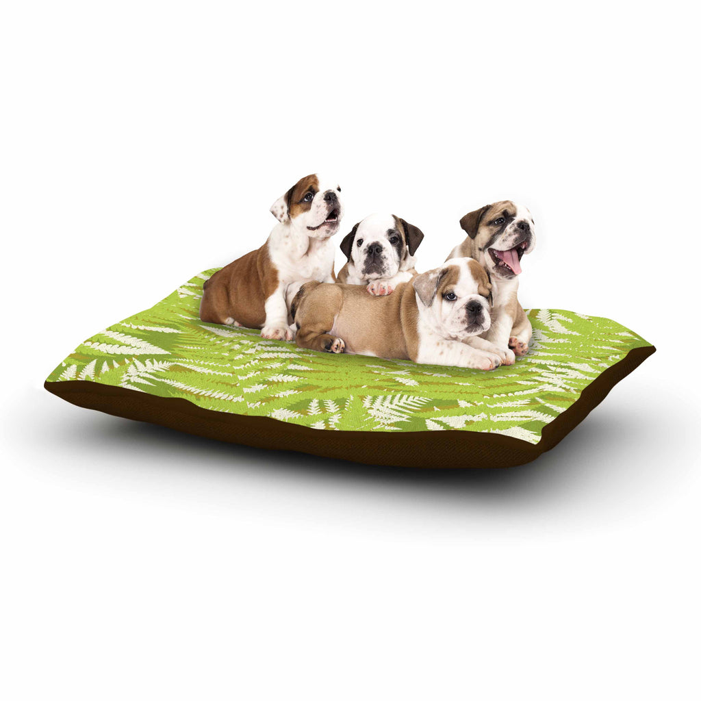 "Jacqueline Milton ""Fun Fern - Green"" Green Floral Dog Bed - KESS InHouse  - 1"