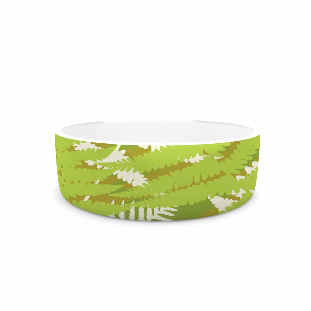 "Jacqueline Milton ""Fun Fern - Green"" Green Floral Pet Bowl - KESS InHouse"