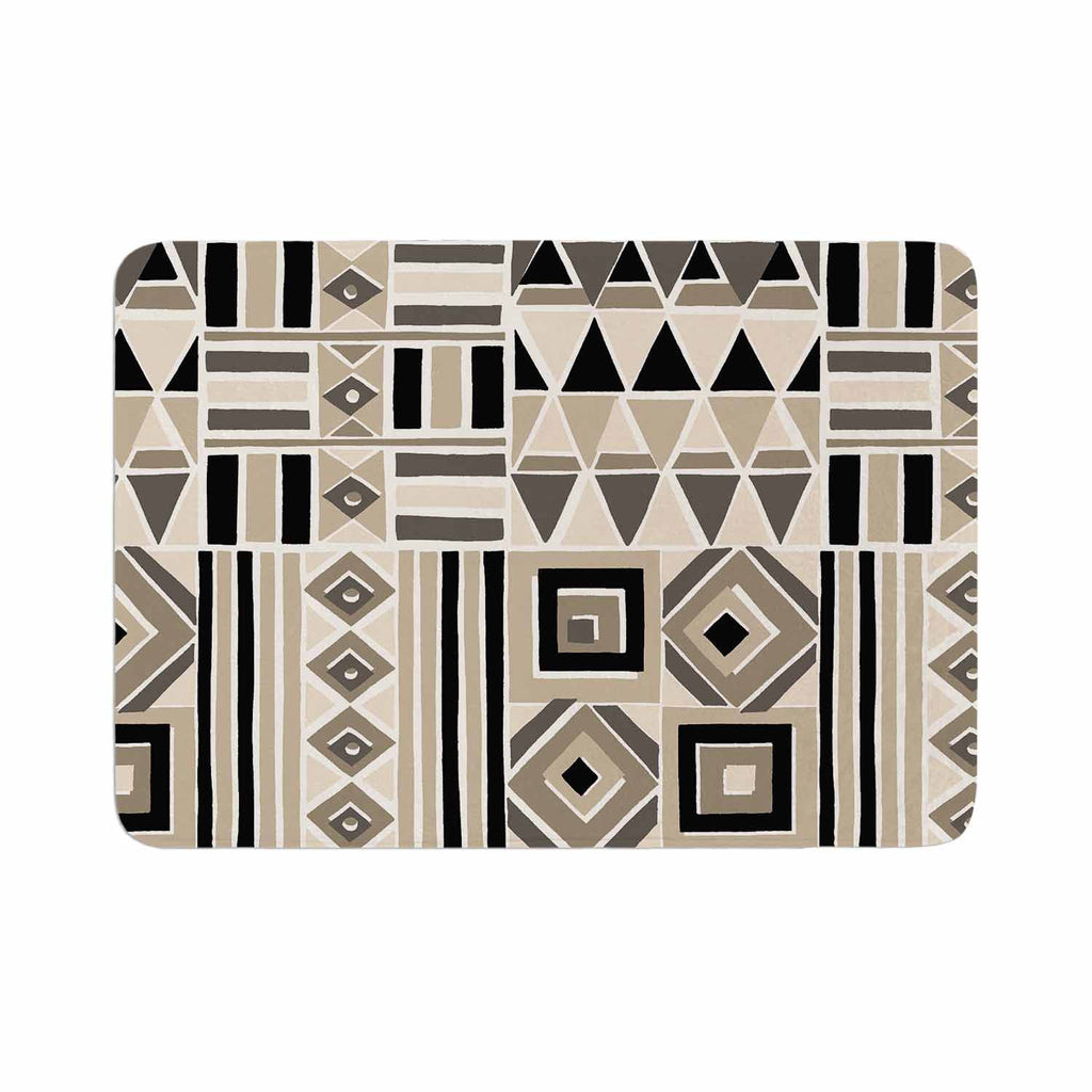 "Jacqueline Milton ""Heatwave - Latte"" Beige Brown Illustration Memory Foam Bath Mat"