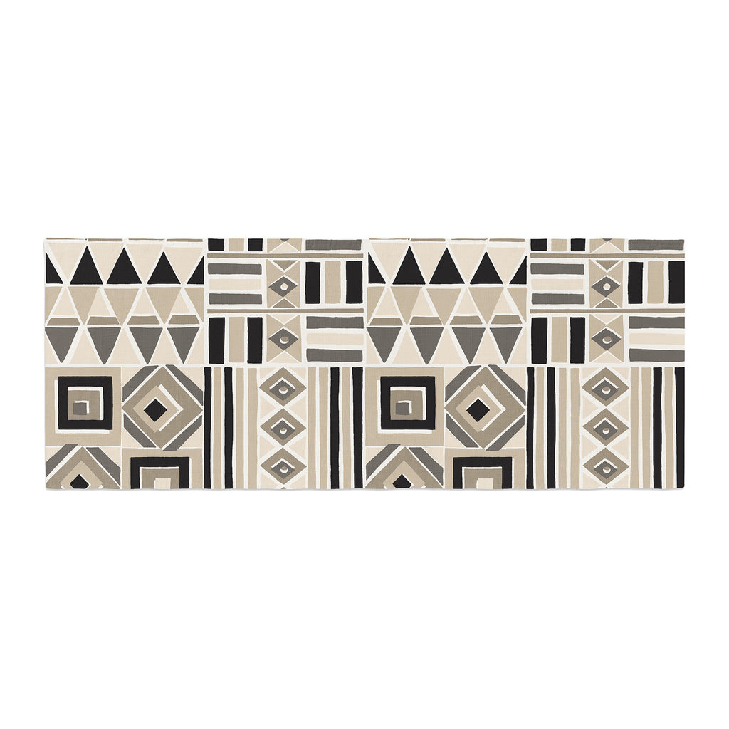 "Jacqueline Milton ""Heatwave - Latte"" Beige Brown Illustration Bed Runner"