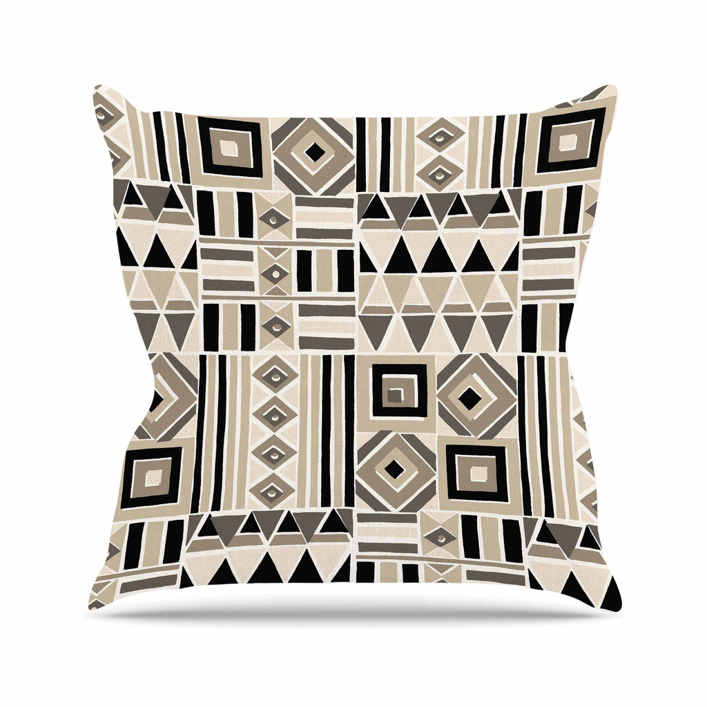 "Jacqueline Milton ""Heatwave - Latte"" Beige Brown Illustration Outdoor Throw Pillow"