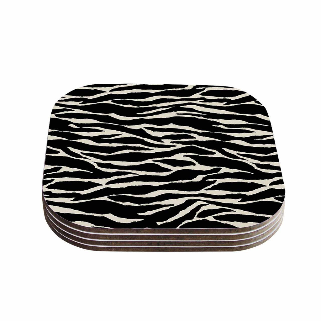 "Jacqueline Milton ""Safari"" Black Beige Mixed Media Coasters (Set of 4)"