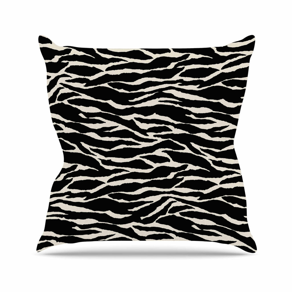 "Jacqueline Milton ""Safari"" Black Beige Mixed Media Outdoor Throw Pillow"