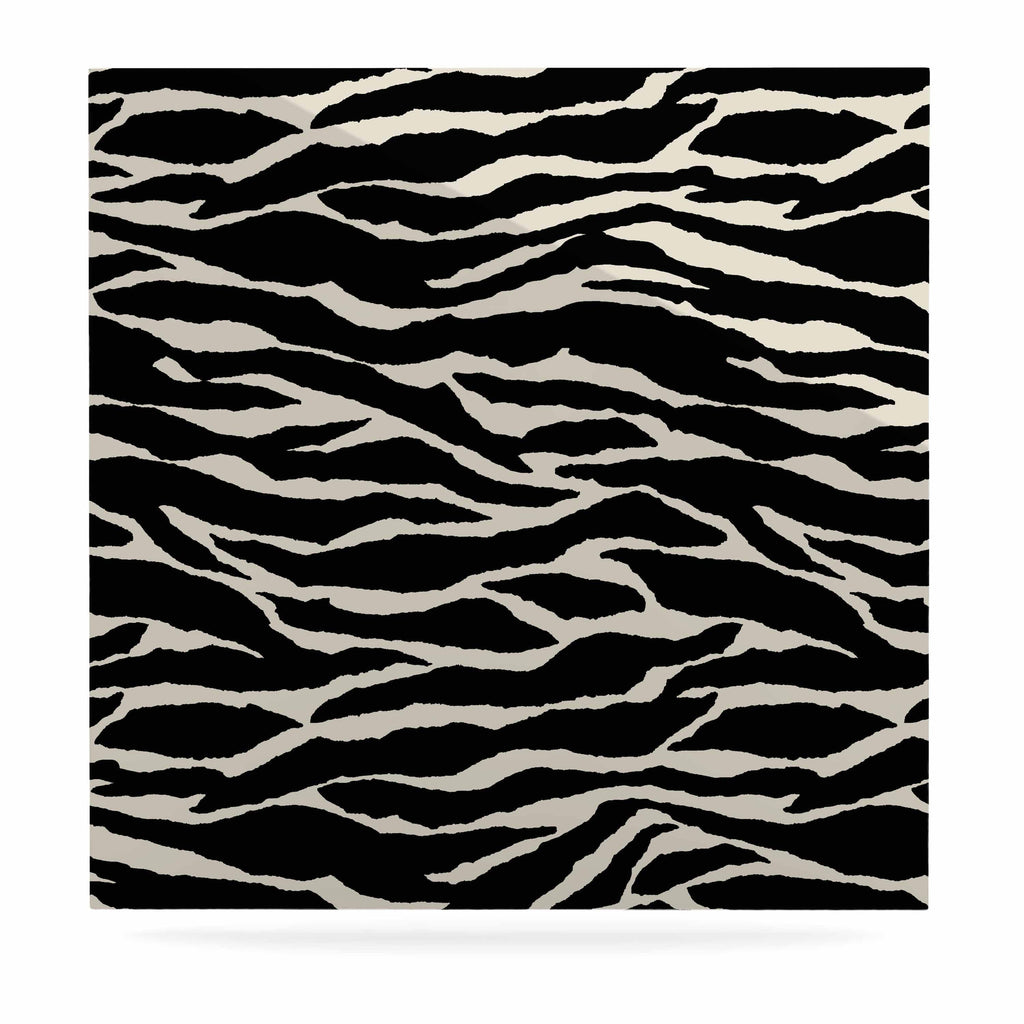 "Jacqueline Milton ""Safari"" Black Beige Mixed Media Luxe Square Panel"