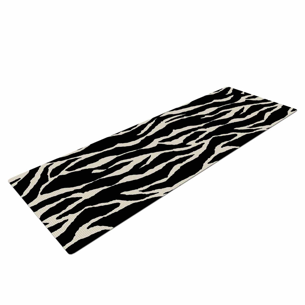 "Jacqueline Milton ""Safari"" Black Beige Mixed Media Yoga Mat"
