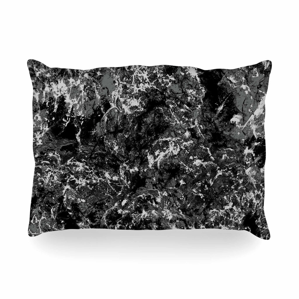 "Jacqueline Milton ""Stony Black"" Black Gray Painting Oblong Pillow"