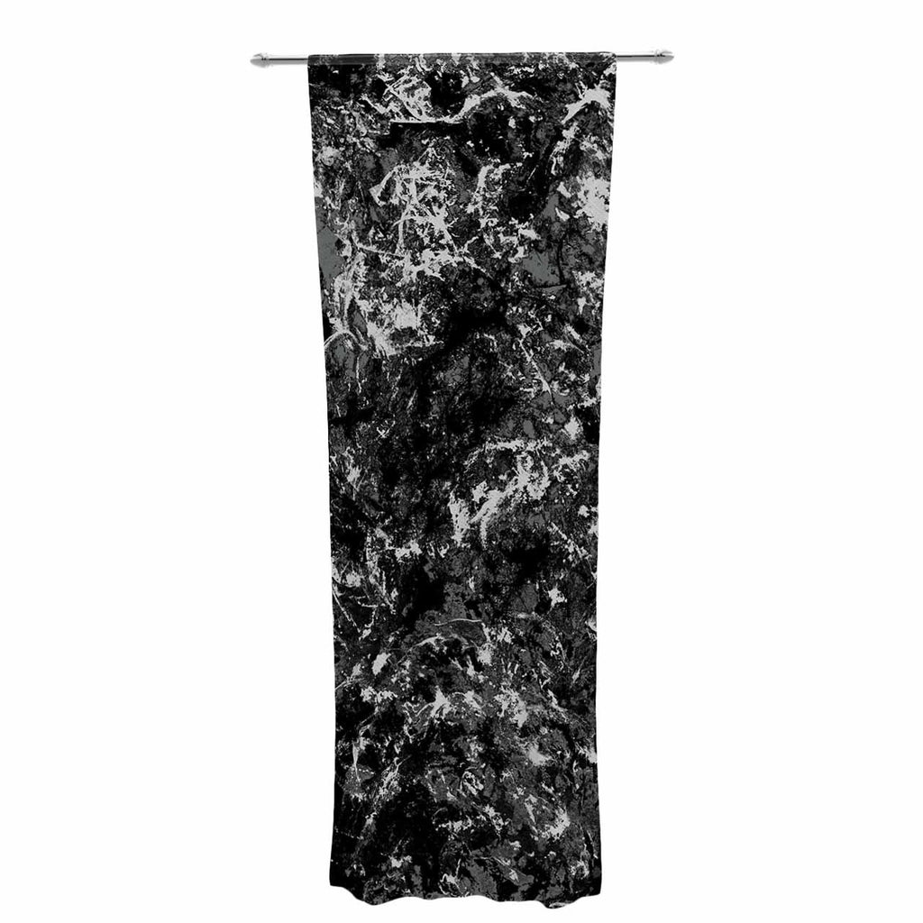 "Jacqueline Milton ""Stony Black"" Black Gray Painting Decorative Sheer Curtain"