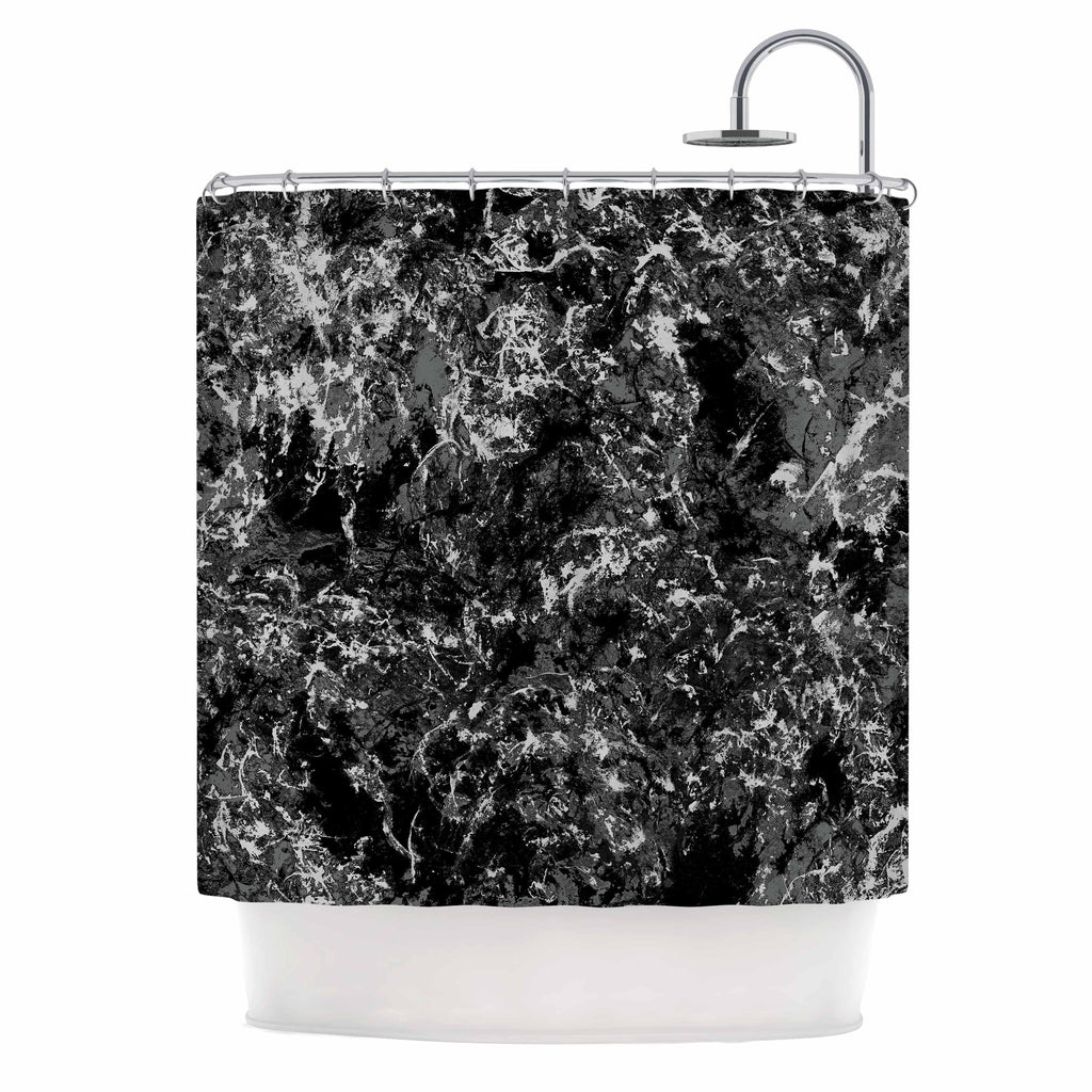 "Jacqueline Milton ""Stony Black"" Black Gray Painting Shower Curtain"