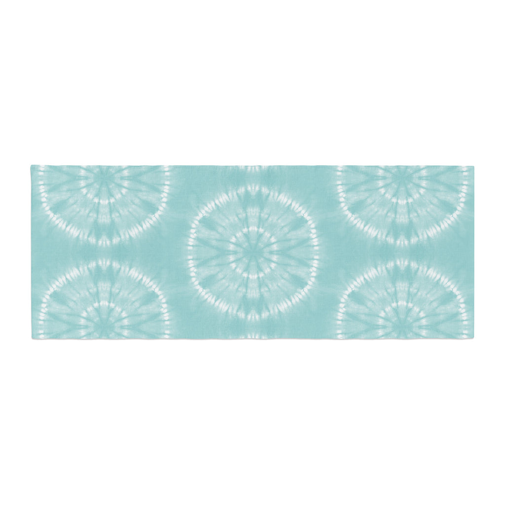 "Jacqueline Milton ""Shibori Circles - Aqua"" Teal Pastel Mixed Media Bed Runner"