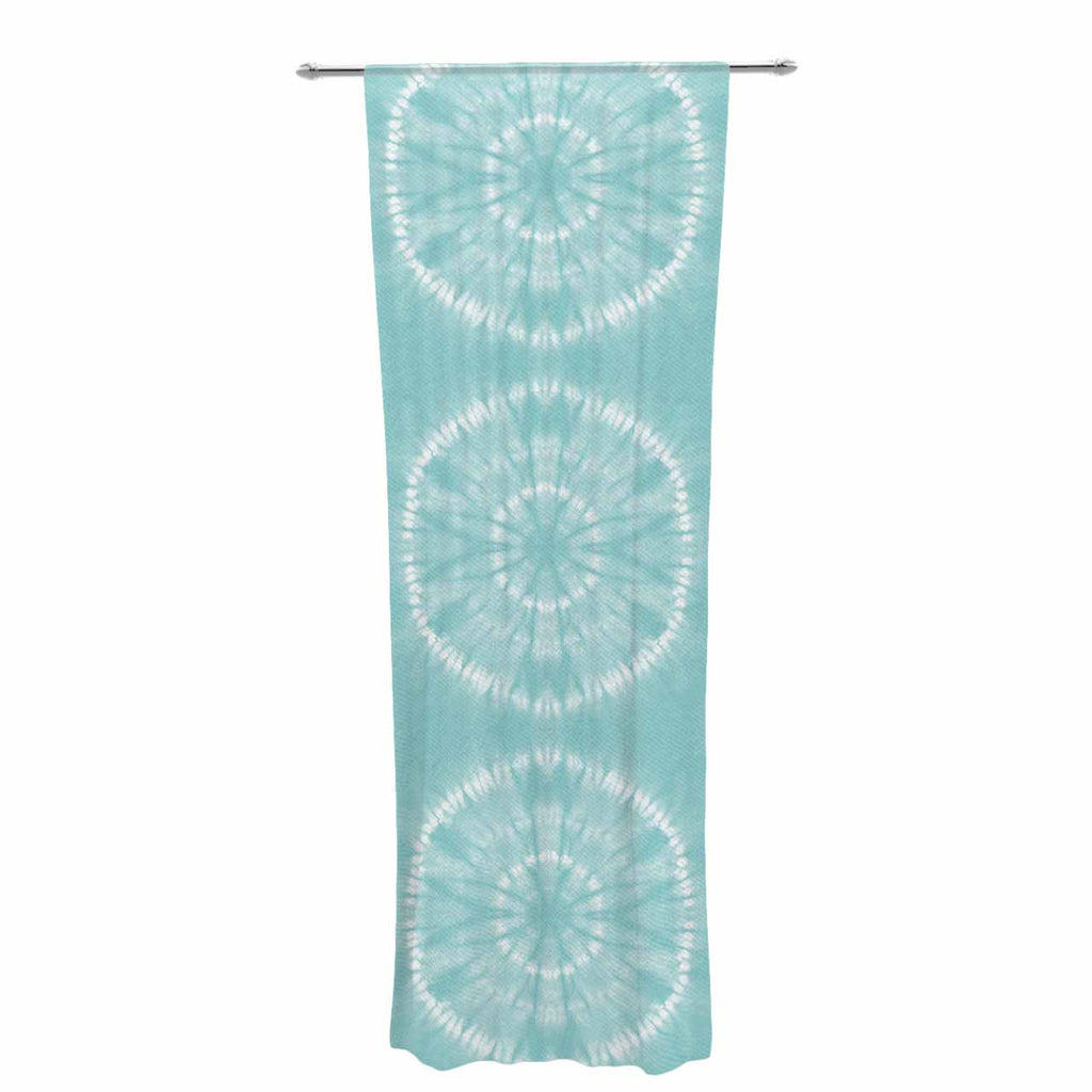"Jacqueline Milton ""Shibori Circles - Aqua"" Teal Pastel Mixed Media Decorative Sheer Curtain"